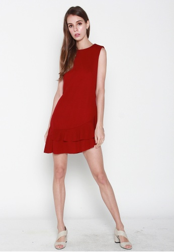 JOVET red Slanted Hem Dress 71F95AA719A7F0GS_1
