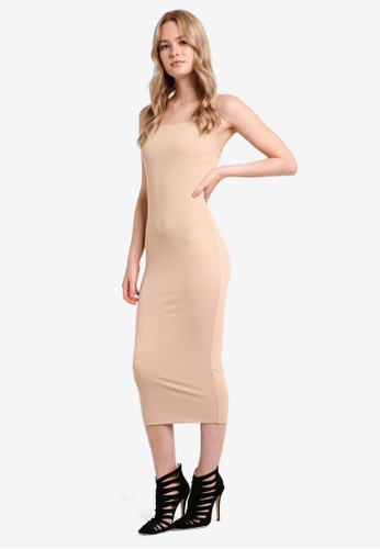 MDSCollections beige Cami Bodycon Midi Dress MD369AA34VWBMY_1