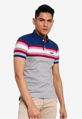 Superdry grey Malibu Stripe Polo Shirt 35559AA96DA65BGS_1