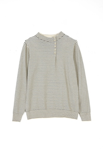 Its Me beige Simple Half High Neck Striped Sweater 9DD67AA037CC7EGS_1