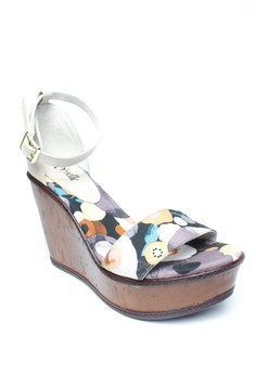 Kiwi Floral Ankle-Strap Wedge Sandals