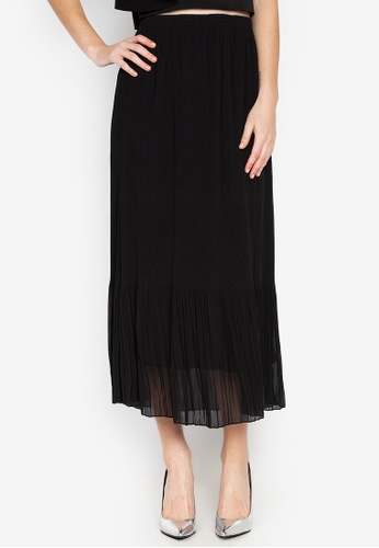 CIGNAL black Long pleated Chiffon Garterized Skirt D4212AA0177287GS_1