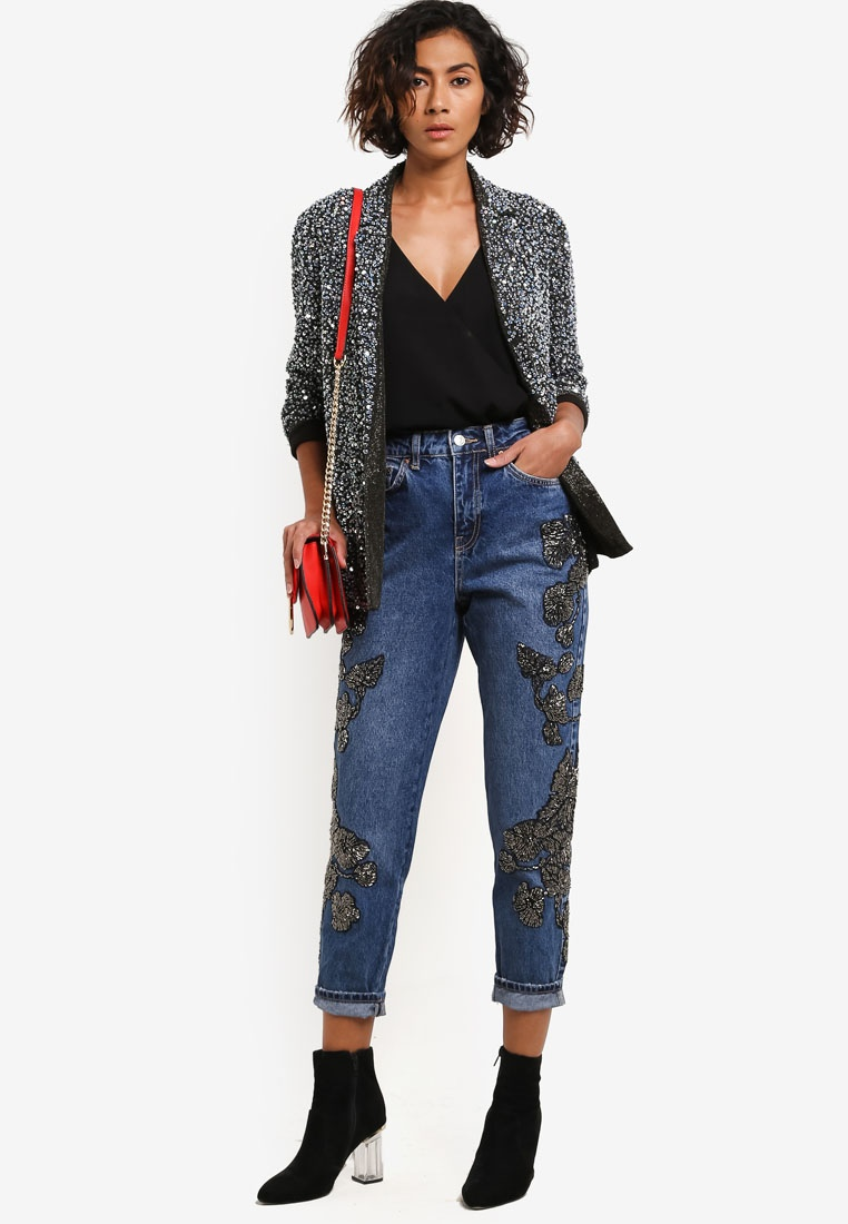Edition Mom TOPSHOP Moto Beaded Bleach Limited Jeans RSHPZw6Hq