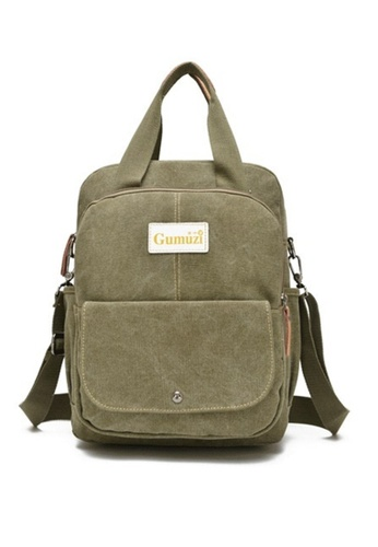 Jackbox green Korean GMZ 2 Style Canvas Bag Ipad Tablet Messenger Sling Bag Backpack 337 (Army Green) JA762AC33KDIMY_1