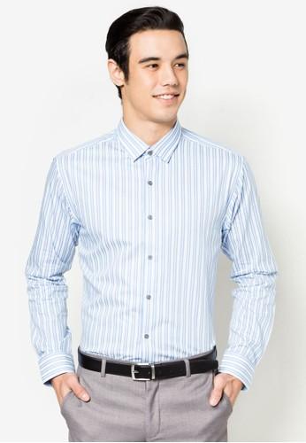 直條紋貼身長袖襯衫, esprit門市服飾, 服飾