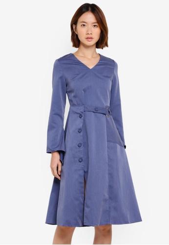 Haute Kelly blue Sung V-Neck Dress With Sash 0B4A1AAB29CF3AGS_1