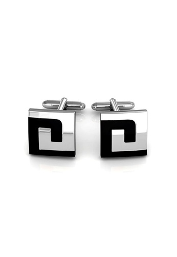 Her Jewellery silver Mr Oil Paint 4 Cufflinks (Square)(18K White Gold Plated) Her Jewellery HE581AC0RBIHMY_1