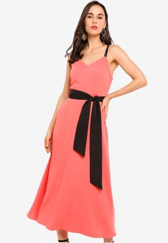 ZALORA orange Double Strap Fit and Flare Midi Dress 32D5BAA65A42B8GS_1