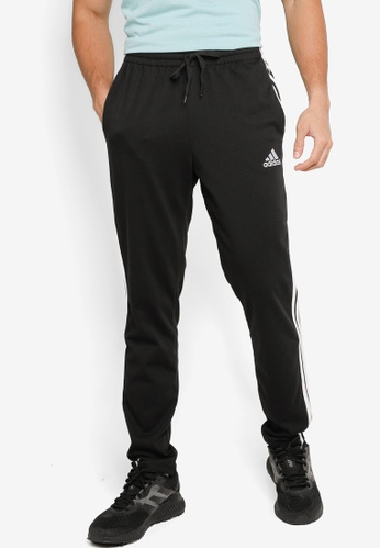 ADIDAS black essentials single jersey tapered open hem 3-stripes pants C1D9EAA44B32D6GS_1