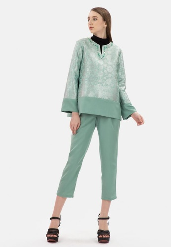 Songket Blouse with Pant in Green from MKY Clothing in green_1