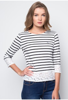 Printed Stripes with Lace Detail
