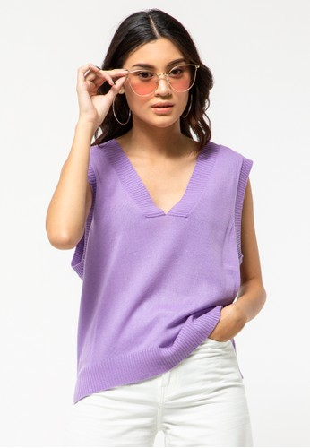 COLORBOX purple V-Neck Vest Sweater 18834AAA1BEFD7GS_1