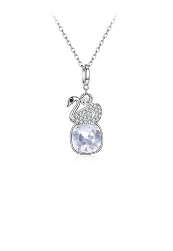 Glamorousky white 925 Sterling Silver Elegant Swan Geometric Pendant with White Austrian Element Crystal and Necklace F7293ACF008DDDGS_1