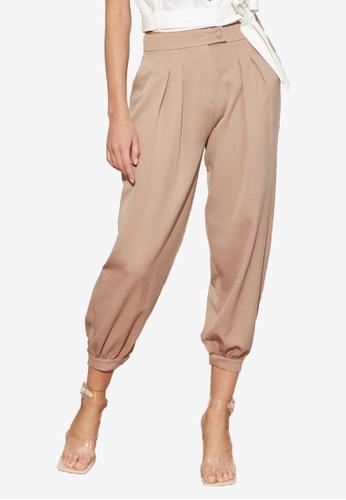 Trendyol 米褐色 Pleated 慢跑Style 長褲 CDA02AAB34A203GS_1