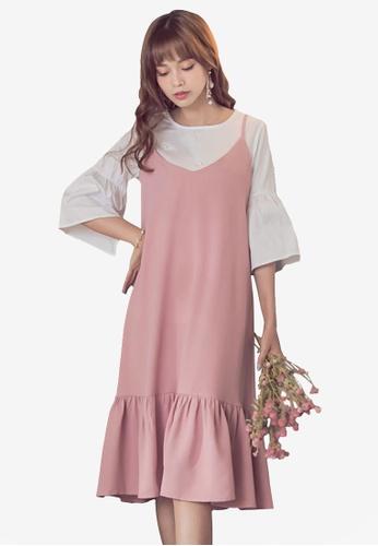 Yoco pink Cami Trumpet Hem Dress 418CBAA0E166C1GS_1