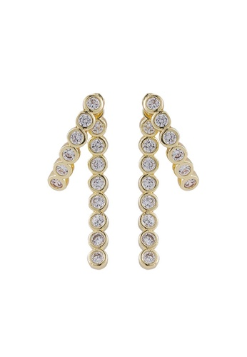 YOUNIQ gold YOUNIQ Basic Korean Checker Blue Orange Vintage Pearl Long Dropped Heart Shape AB Earrings CF013ACD775901GS_1
