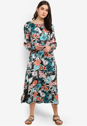 Glamorous green and multi Satin Floral Print Midi Dress 2E5A2AAF411E0FGS_1