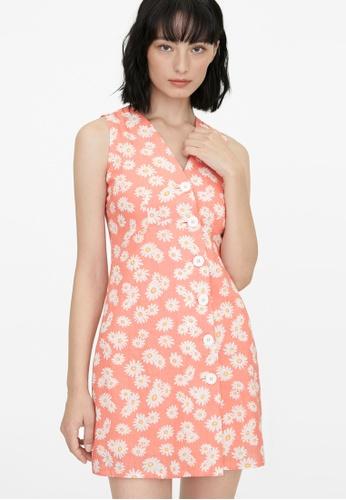 Pomelo orange Daisy Sleeveless Button Up Dress - Orange 076A7AA9317A3FGS_1