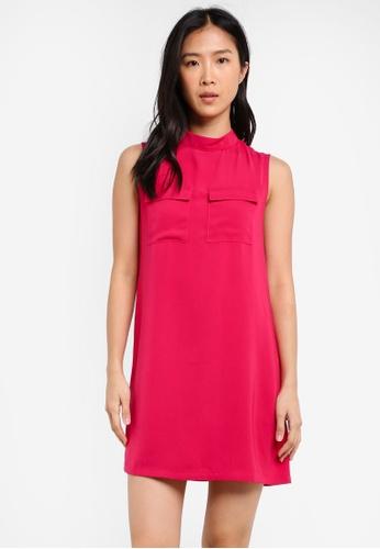 ZALORA pink High Neck Dress With Utility Pocket 3015AAA55F7E10GS_1