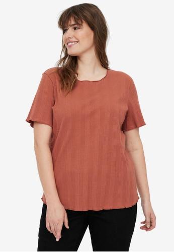 Vero Moda orange Plus Size Grunt Short Sleeve Tee C45CAAA2458A5FGS_1