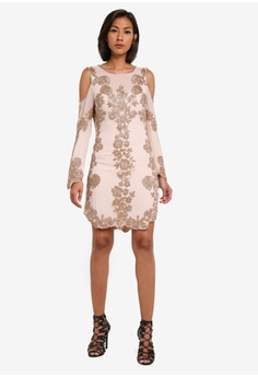 a7df65d23c 54% OFF Miss Selfridge Gold Cold Shoulder Dress S  289.00 NOW S  131.90  Sizes 4 6 8 10 12
