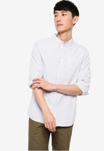 ZALORA BASICS white Slim Fit Stripe Shirt DAB97AAD87D1BFGS_1