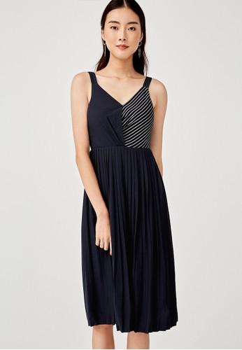 Love, Bonito navy Gemma Pleated Midi Dress 91643AA1473165GS_1