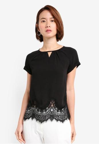 ZALORA black Applique Lace Hem Top 850B0AA4DC817CGS_1