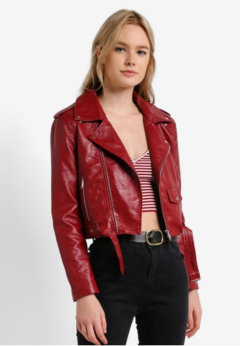 Something Borrowed red Cropped Faux Leather Biker Jacket EC323ZZCD5C5AEGS_1