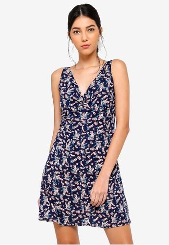 ZALORA 多色 and 海軍藍色 Twist Front Dress 1B9DDAAAD58177GS_1