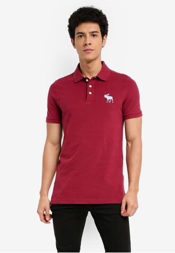 Abercrombie & Fitch red Exploded Icon Polo Shirt 682AFAA21E388AGS_1