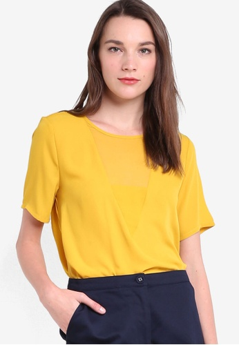 WAREHOUSE yellow V Detail Woven Mix Tee WA653AA94XMZMY_1
