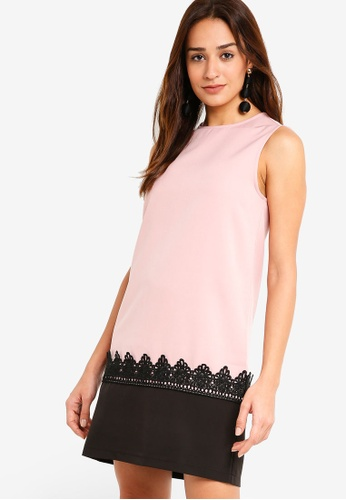 ZALORA pink Colorblock Dress with Lace D9642AA0B5BB8CGS_1
