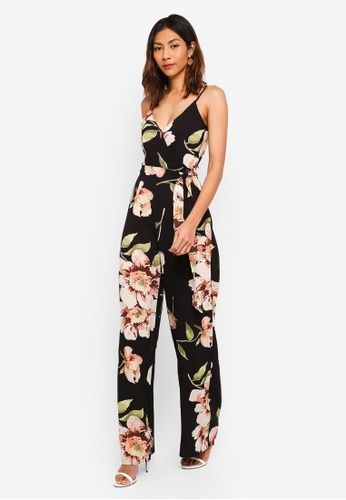 Lipsy black and multi Dark Print Floral Cami Strappy Jumpsuit F85FDAAB4058B4GS_1