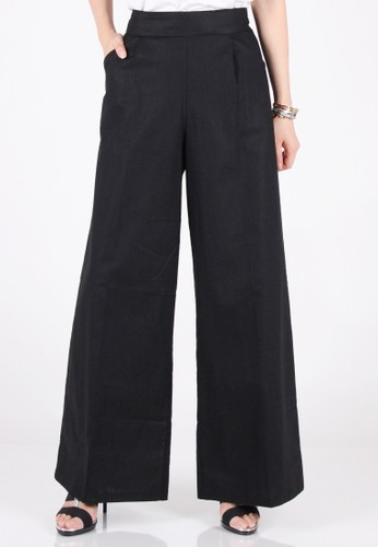 Meitavi's Kulot Cotton Linen Maxi Culottes - Black