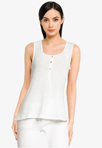 ONLY white Riz Sleeveless Glitter Top E0DD5AA398D078GS_1