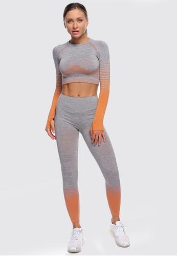 Twenty Eight Shoes orange VANSA Pure Color Long-Sleeved Yoga Set  VPW-YTZ666 05EEBAA5166ED2GS_1