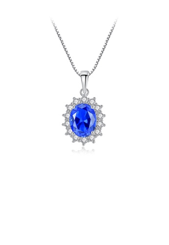 Glamorousky white 925 Sterling Silver Fashion and Elegant Geometric Pattern Blue Cubic Zirconia Pendant with Necklace 24DCAAC798D4A0GS_1