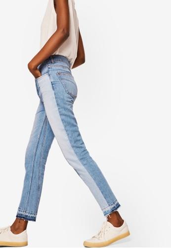 Mango blue Contrast Panels Jeans 974C4AAD779844GS_1