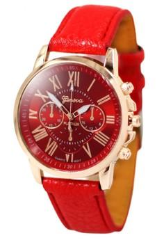 Geneva Celine Leather Strap Watch (Red)
