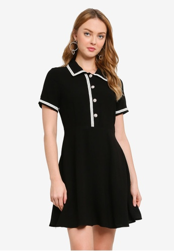 Hopeshow black Short Sleeve Button Top Mini Dress with Embroidery C0A3AAA28A45B5GS_1