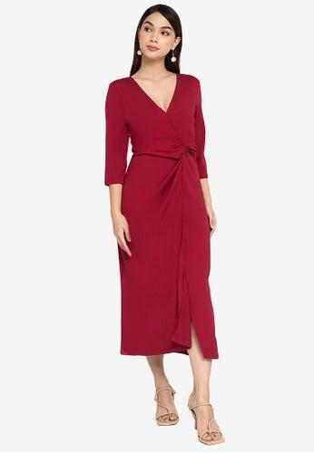 ZALORA WORK red Wrap Midi Dress DC4EFAADE61781GS_1
