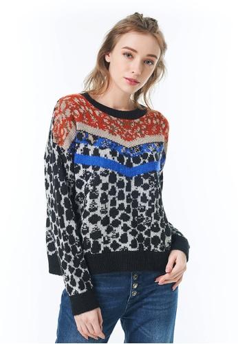 Sisley black Animal Printed Sweater D7B29AAE9911E9GS_1