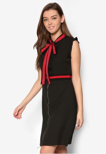 Seresprit台灣門市ena 撞色蝴蝶結緞帶洋裝, 服飾, 洋裝