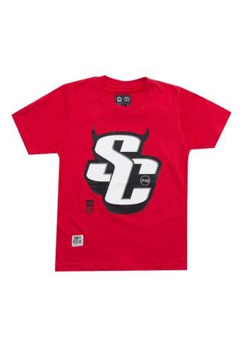 SHARKS red Typo Series Tshirt C7D6FKA3469139GS_1