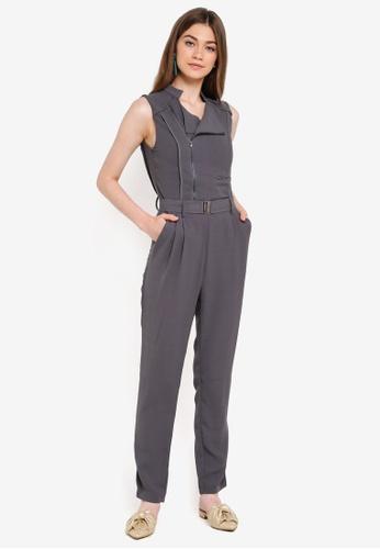 INDIKAH grey Zippered Sleeveless Jumpsuit With Belt F6EFEAA5FFFECCGS_1