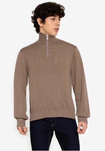 ZALORA BASICS brown Zipped Turtleneck Sweater 6EC82AA571F053GS_1