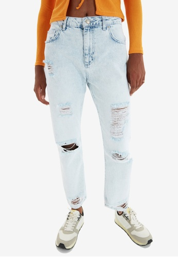 Trendyol blue Blue Ripped Straight Leg Jeans BE5D8AA1BA6EB6GS_1