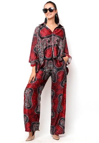 Kanzi by liza yahya red Kanzi Exclusive Batik Set With Pants 6AE1CAA5EA016CGS_1