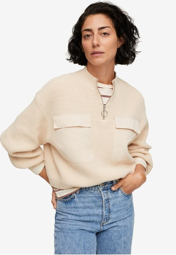 Mango beige Knit Pockets Sweater ADF06AA50CD731GS_1